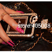 Luxury Bling Crystal Diamond Lanyard Leather Chain Perfume Bottle Case Cover For Iphone 5 5S 4