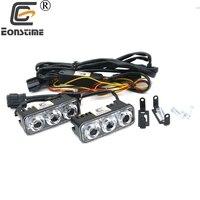 Eonstime DC12V 24V Waterproof Car Auto High Power Aluminum LED Daytime Running Lights With Lens 6000K