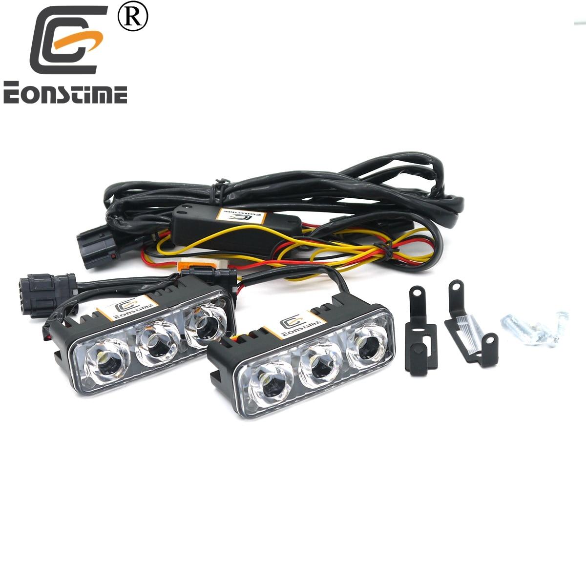 Автомобильные светодиодные дневные ходовые огни Eonstime, водонепроницаемые, 12 В/24 В, с объективом 6000 K, противотуманные фары с высокой мощность...