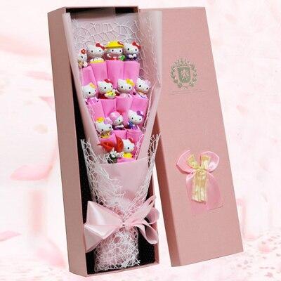 1 set Nouveau poupées Meilleur Cadeau de Fête D'anniversaire fille Kawaii Bonjour Kitty Poupée bouquet De Fleurs Cadeau boîte De Noël de Valentine jour présent