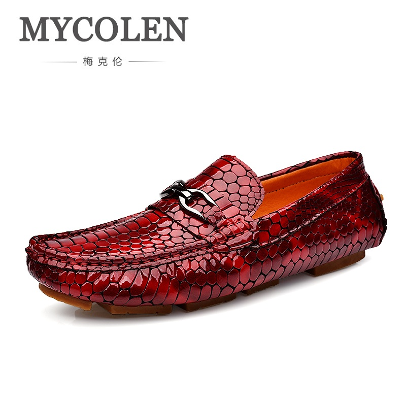 MYCOLEN Men Driving Shoes Casual Italian Loafers Luxury Comfortable Snakeskin Flat Shoes Men High Quality Men's Slip On Leather men s full grain leather shoes casual crocodile driving shoes slip on boat shoes fashion moccasins for men s loafers new quality