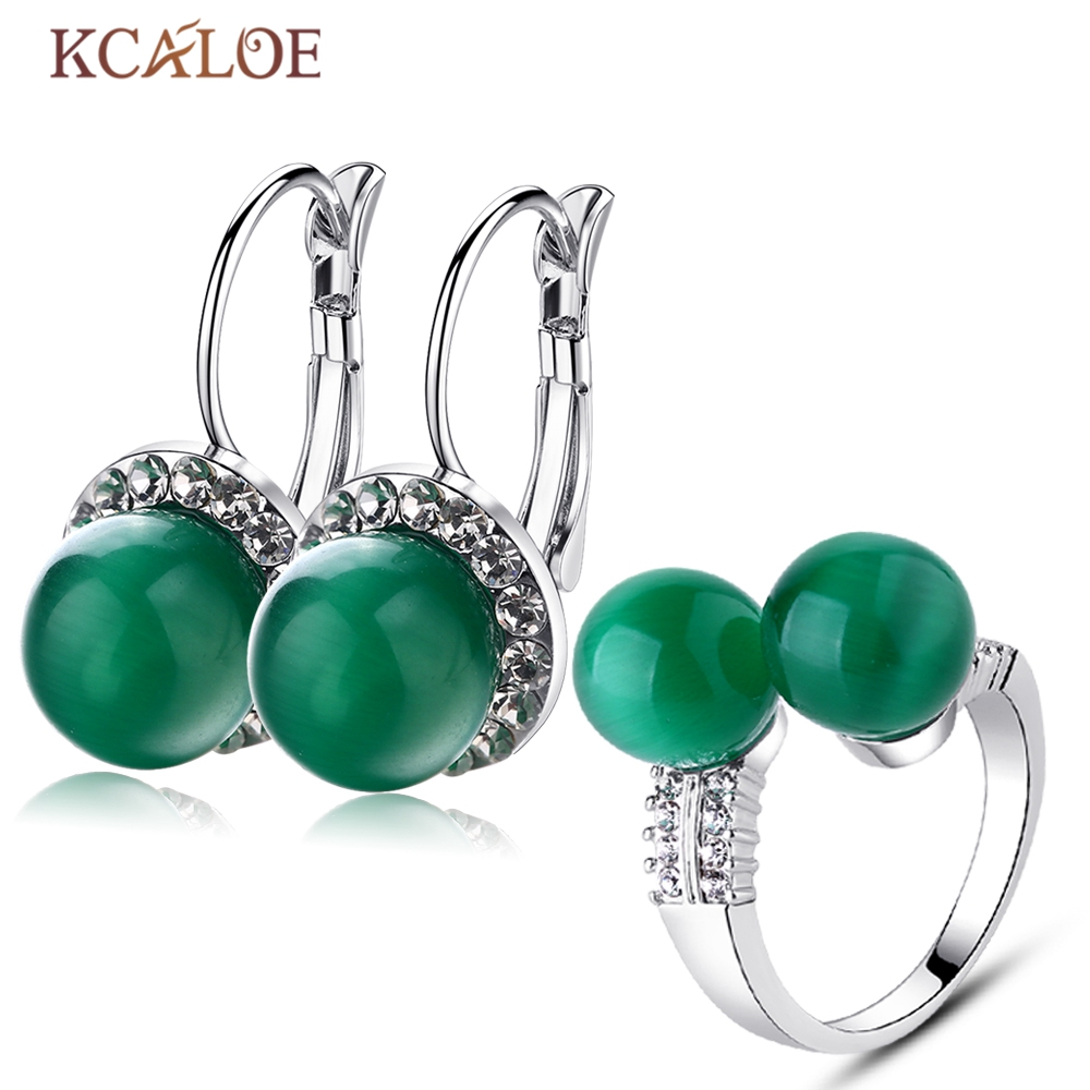KCALOE Earrings Ring Jewellery Sets For Women Natural Green Opal Stone Fashion Round Ball Silver Plated Crystal Jewerly Sets
