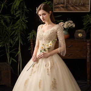 Image 5 - Champagne V Neck Half Sleeve Tassel 2019 New Wedding Dress Lace Applique Custom Made Plus Size Bridal Gown Vestido De Noiva L
