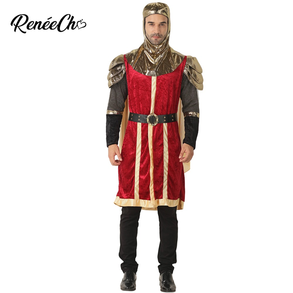 2018 Halloween Costume adult Medieval King Costume Men Knight Costume Coat Cape Belt Hood 4 Pieces Set Carnival Party Wear