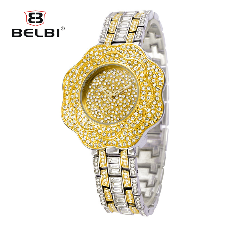 BELBI Fashion Ladies Women Golden Watch 2018 Stainless Steel Rhinestone Quartz Wrist Watch Montre Femme цена