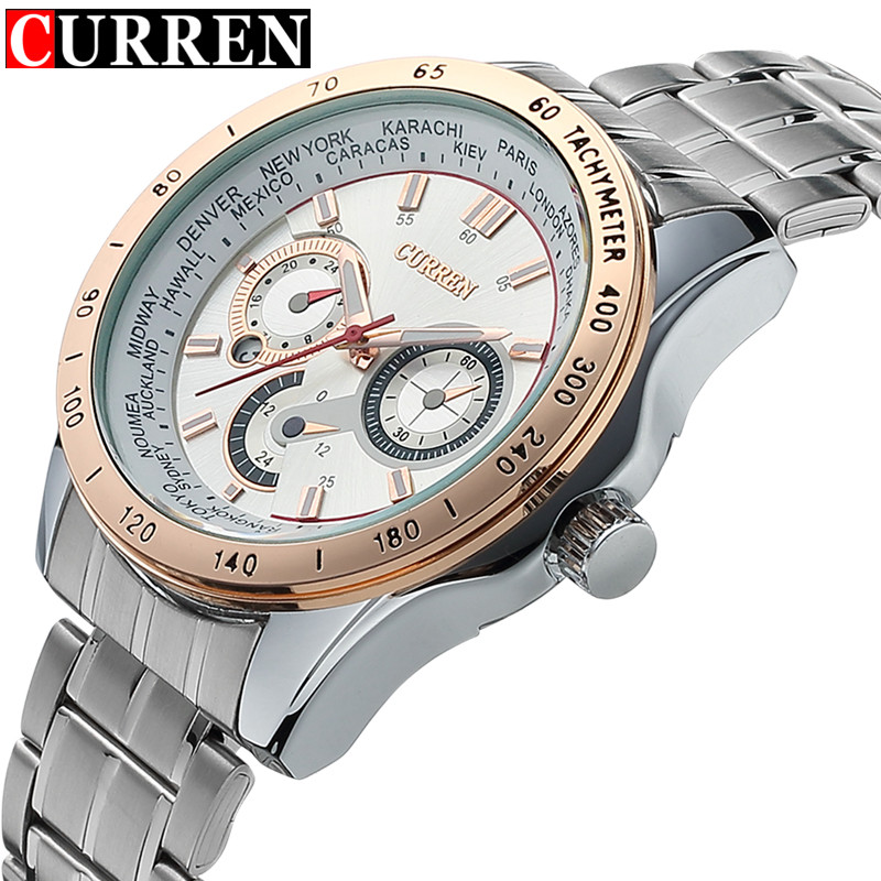 2016 Mens Curren Watches Top Brand Luxury Full Steel Quartz Clock Army Military Sport Watch Waterproof relogio masculino relogio masculino original curren wristwatches mens watches top brand luxury silicone sports watches military army waterproof