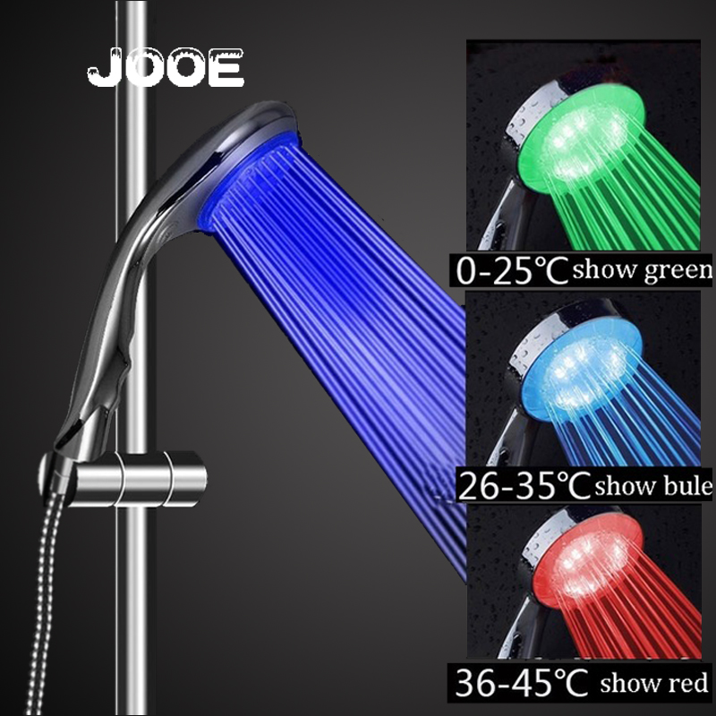 Jooe Water temperature led shower head 3 colors change with Chrome ...
