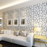 Modern Water Cube Non Woven Wallpaper Living Room Bedroom Sofa TV Background White Black Wall Paper