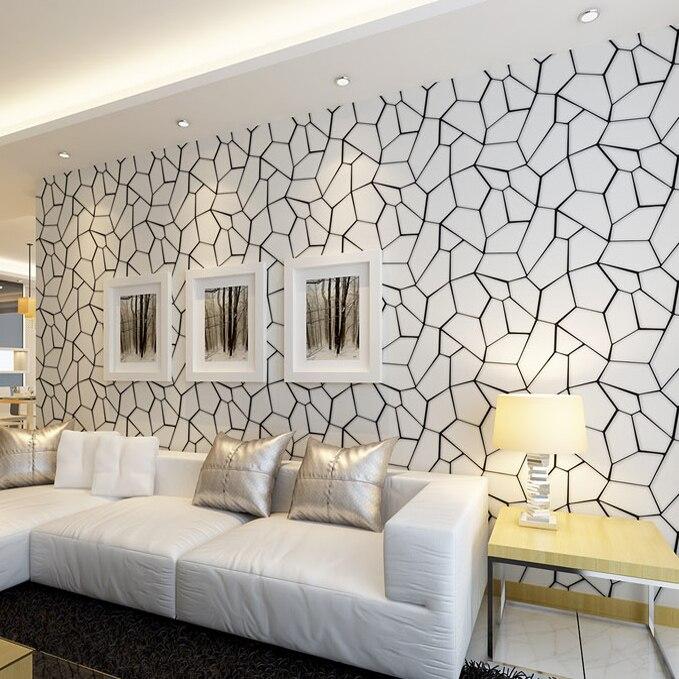 Cube d'eau moderne papier peint intissé salon chambre canapé fond TV blanc noir papier peint rouleau