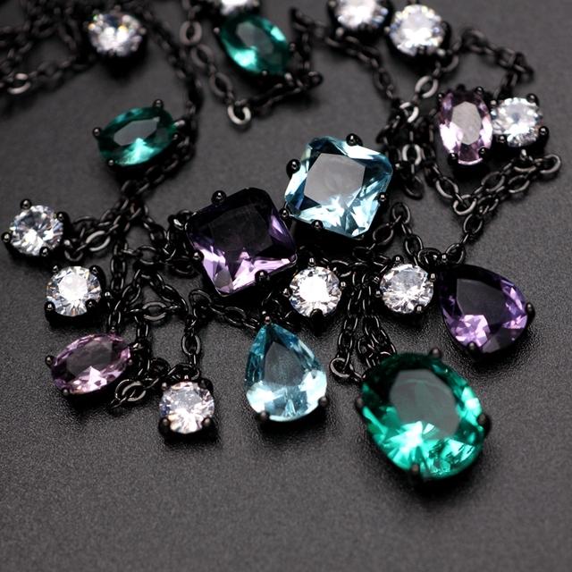 Luxury multi color Zirconia Necklace Green Water Drop Crystal stone Pendants Chain Choker Bohemia Women Statement Jewelry Bijoux