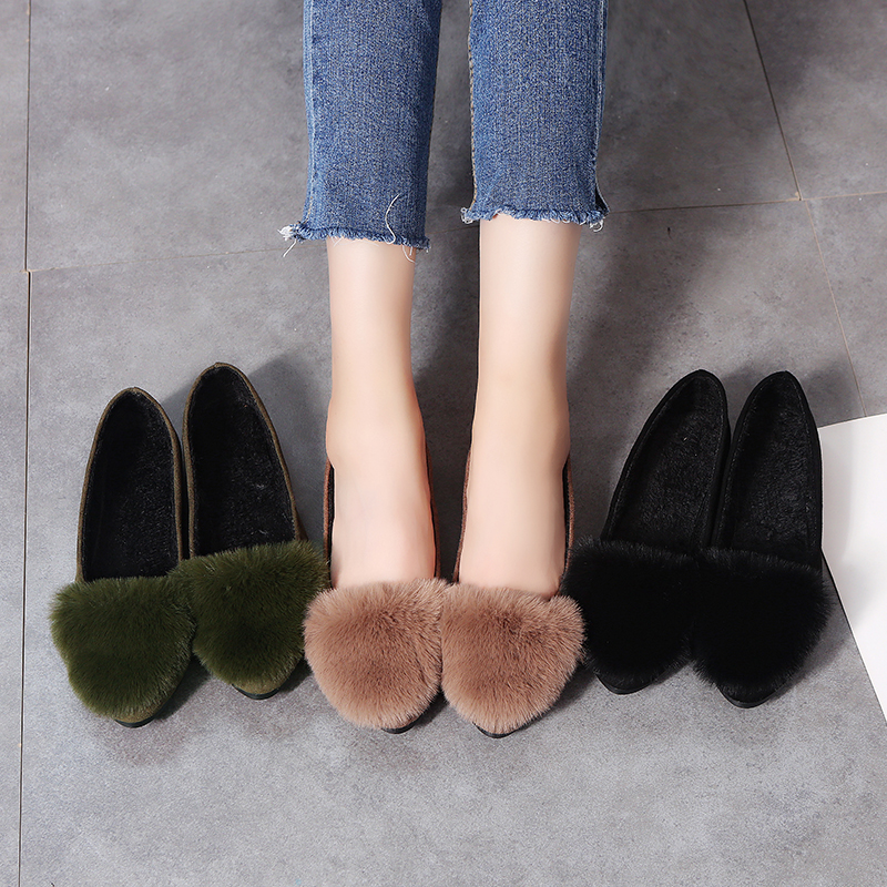 Women Flats Shoes 2018 Winter Faux Fur L
