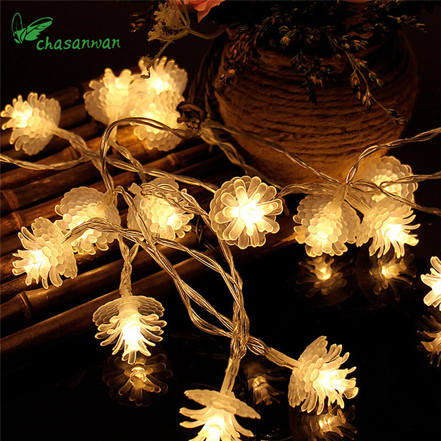 1m 10 Light Pine Nuts LED Light String New Year Christmas Tree ...