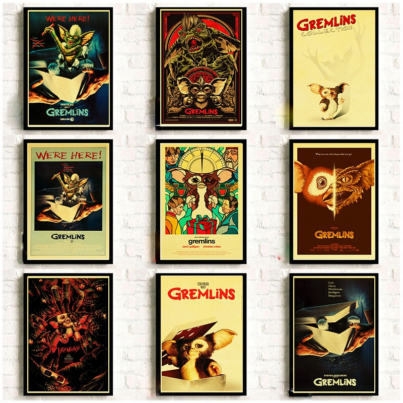 Classic Thriller Movie Gremlins Retro Poster Good Printed Home Room Wall Decorative Painting Sticker image