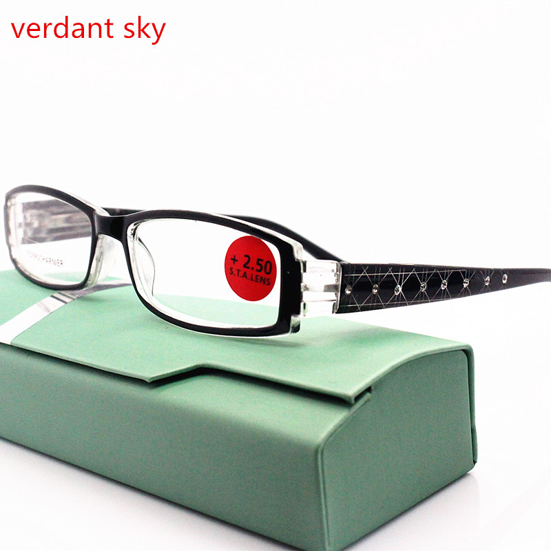 2017 New Brand Women Diopter Glasses Spectacle Frame Eyeglasses Spring Hinge Diamond Reading Glasses Eyewear Oculos+100+150+200