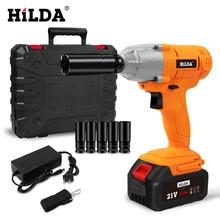 HILDA Аккумуляторный ударный гайковерт, 21 в, безщеточный торцевой гаечный ключ, ручная дрель, электроинструменты для автомобиля/колеса внедорожника