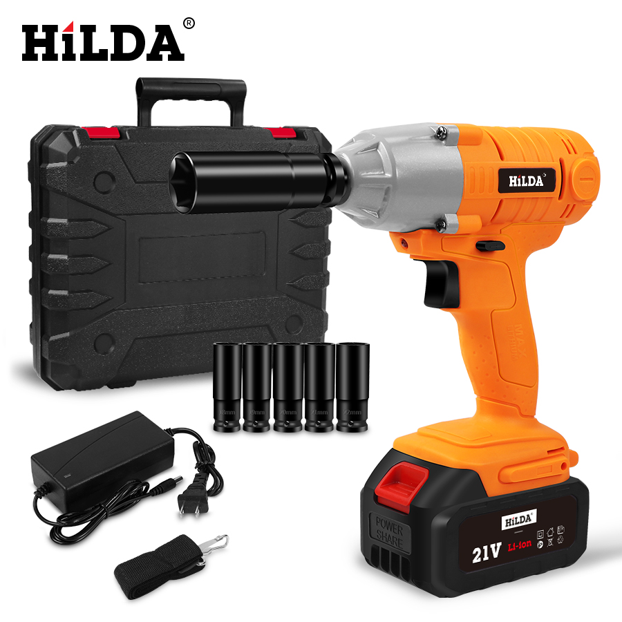 HILDA 21V Cordless Impact Electric Wrench Brushless Socket Wrench Hand Drill Installation Power Tools For Car/SUV Wheel-in Electric Wrenches from Tools on