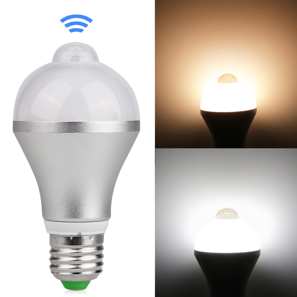 motion activated led bulb e27 5w 7w aluminum design pir infrared detection auto led lamp with. Black Bedroom Furniture Sets. Home Design Ideas