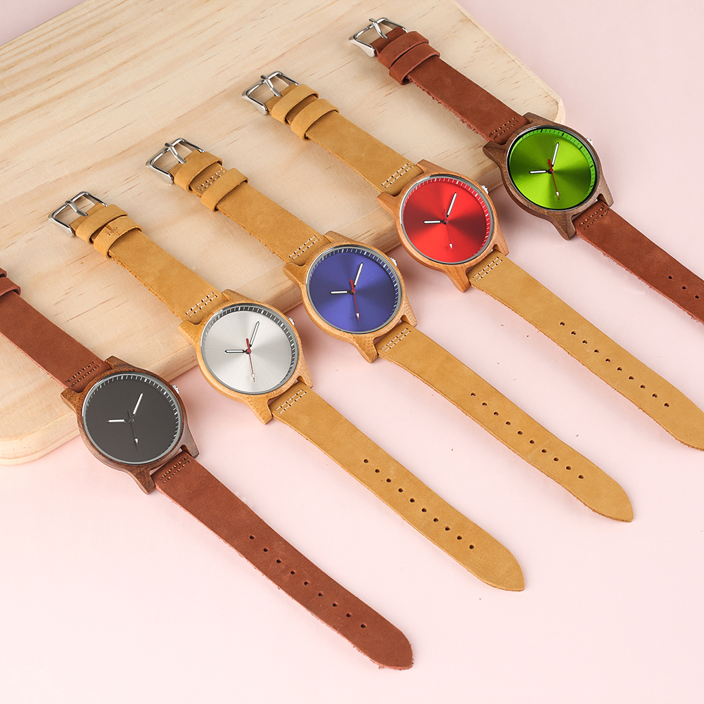 Simple Elegant Women Size Wooden Watch Slim Leather Wrist Band Unique Color Display Dial Casual Trendy Wood Watches Gift Ladies цена