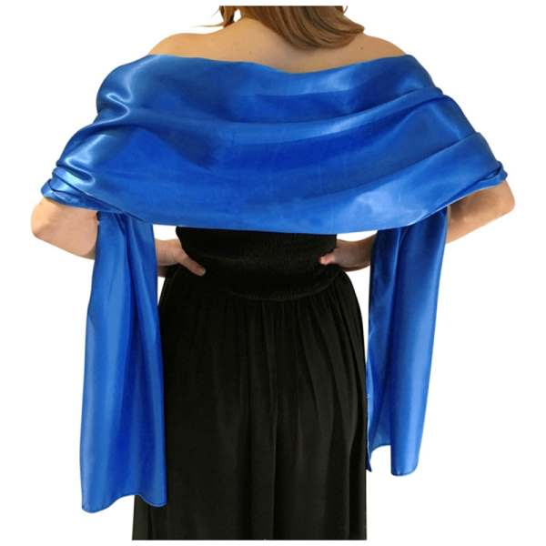 Wedding Bridesmaids Prom Dress Stretch Satin Shawl Women Royal Blue And White 175*70cm