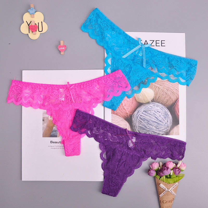 8color Gift full beautiful lace Women's Sexy lingerie Thongs G-string Underwear Panties Briefs Ladies T-back 1pcs/Lot 169