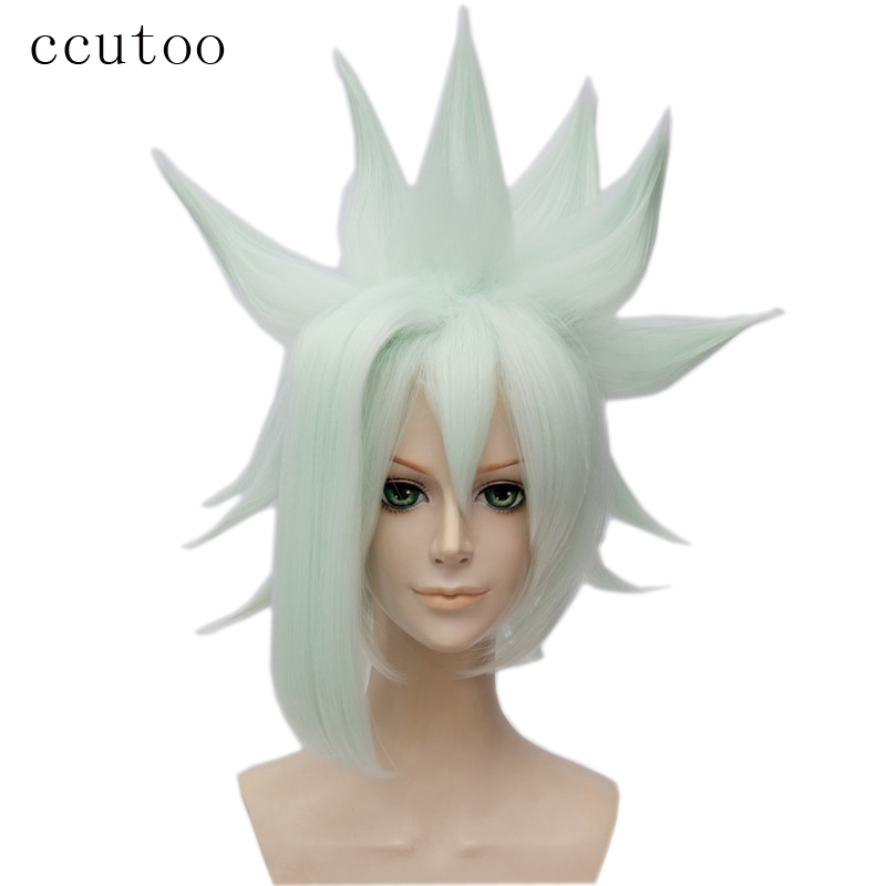 ccutoo Character Grey From Aotu World Short Green Synthetic Hair Cosplay Full Wigs Heat Resistance Fiber