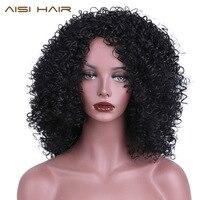AISI טמפרטורה גבוהה סיבי שיער ארוך צבע שחור האפרו מקורזל שיער מתולתל סינטטי פאות לנשים שחורות