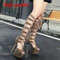 На платформе каблуки женщин высокие сапоги для женщин туфли на высоких каблуках гладиатор сапоги на высоких каблуках сандалии леопарда туфли на высоком каблуке Y923