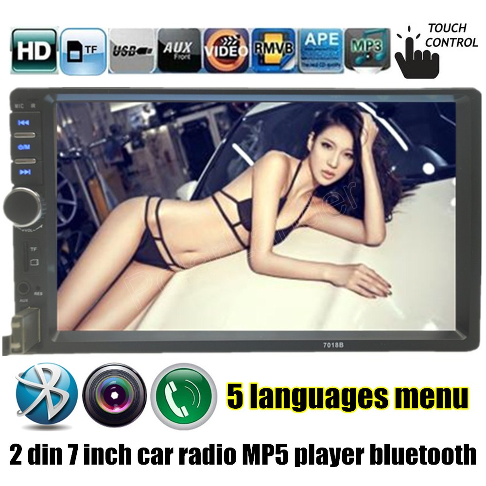7'' inch 2 Din Car Radio MP5 MP4 Player HD Touch Screen Bluetooth Stereo FM/USB/TF/AUX Audio Video Auto support rear camera