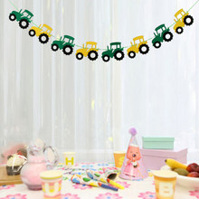 Cool Tractor Auto Vilt Banner Baby Shower Kinderen Verjaardag Doopfeest Opknoping Decoraties 3.28 Yards(China)