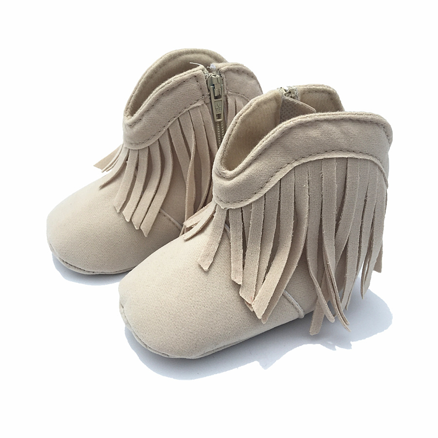 New fringe baby girl shoes non slip soft bottom toddler shoes Cotton princess 0 – 1 year boots