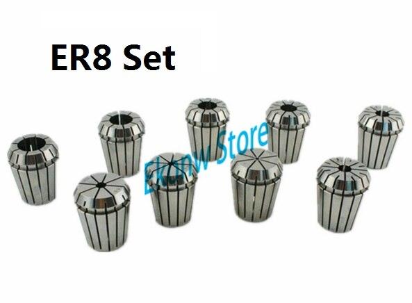 10pcs/set ER8 Chuck Collet Precision Spring Chuck Collet Set 1-5mm For CNC Milling Lathe Tool Engraving Machine bt40 er32 15pc milling lathe collet chuck set 3 to 20mm