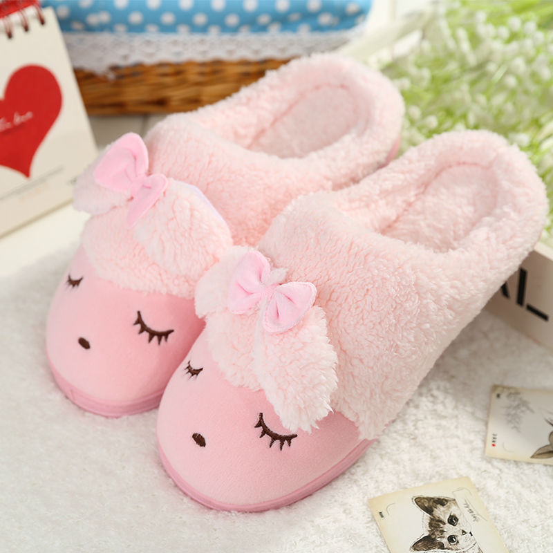 Soft House Slippers Women Men Home Shoes Cute Bedroom Foot Warmer Anese Indoor Fur