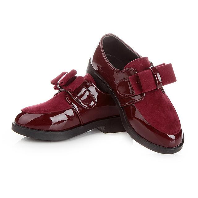 2017 novas crianças shoes meninas shoes moda arco princesa kids shoes para a menina de couro confortável apartamento sapatos casuais shoes eur 27-37