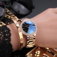 Модные GUOU Марка Повседневное роскошные часы синий сапфир цвета розового золота Сталь часы женские алмаз кварцевые часы водонепроницаемые ...