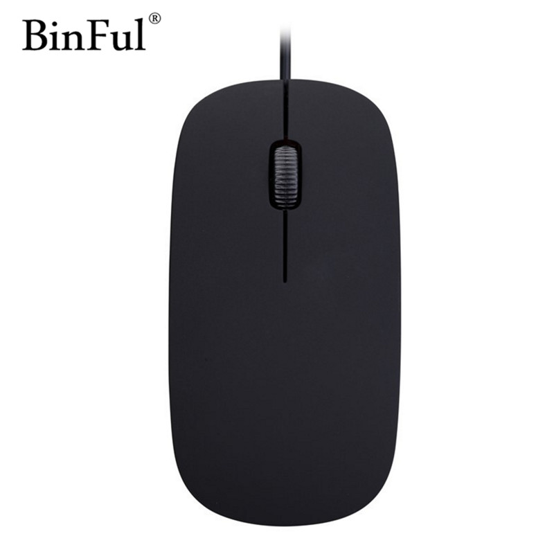 BinFul Ultra Thin USB Optical Mouse USB Wired Mouse 1600DIP 3 Button For Computer PC Black White Gift