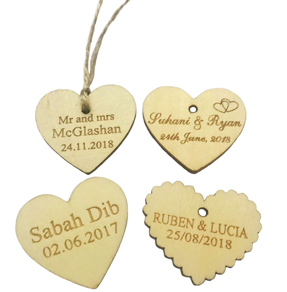 50cs Personalized wedding tags custom Engraved Love Heart Wooden ...