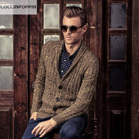 Men Shawl Collar Cardigan Sweater New 2016 Autumn Winter Cable Knit Male Knitwear 100 Cotton Free