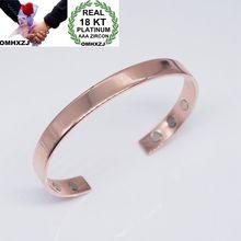 OMHXZJ Wholesale European Fashion Woman Man Party Wedding Gift Simple Magnetic 18KT Rose Gold Cuff Bangle BA85