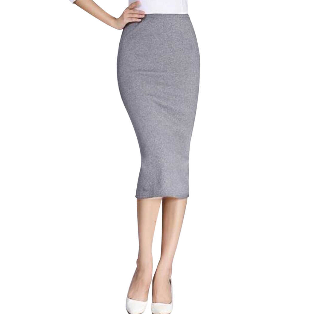 a825514c9 Autumn New Sexy Slim Hip Package Skirts Women Long Pencil Skirt Winter Sexy  Ladies Chic Wool