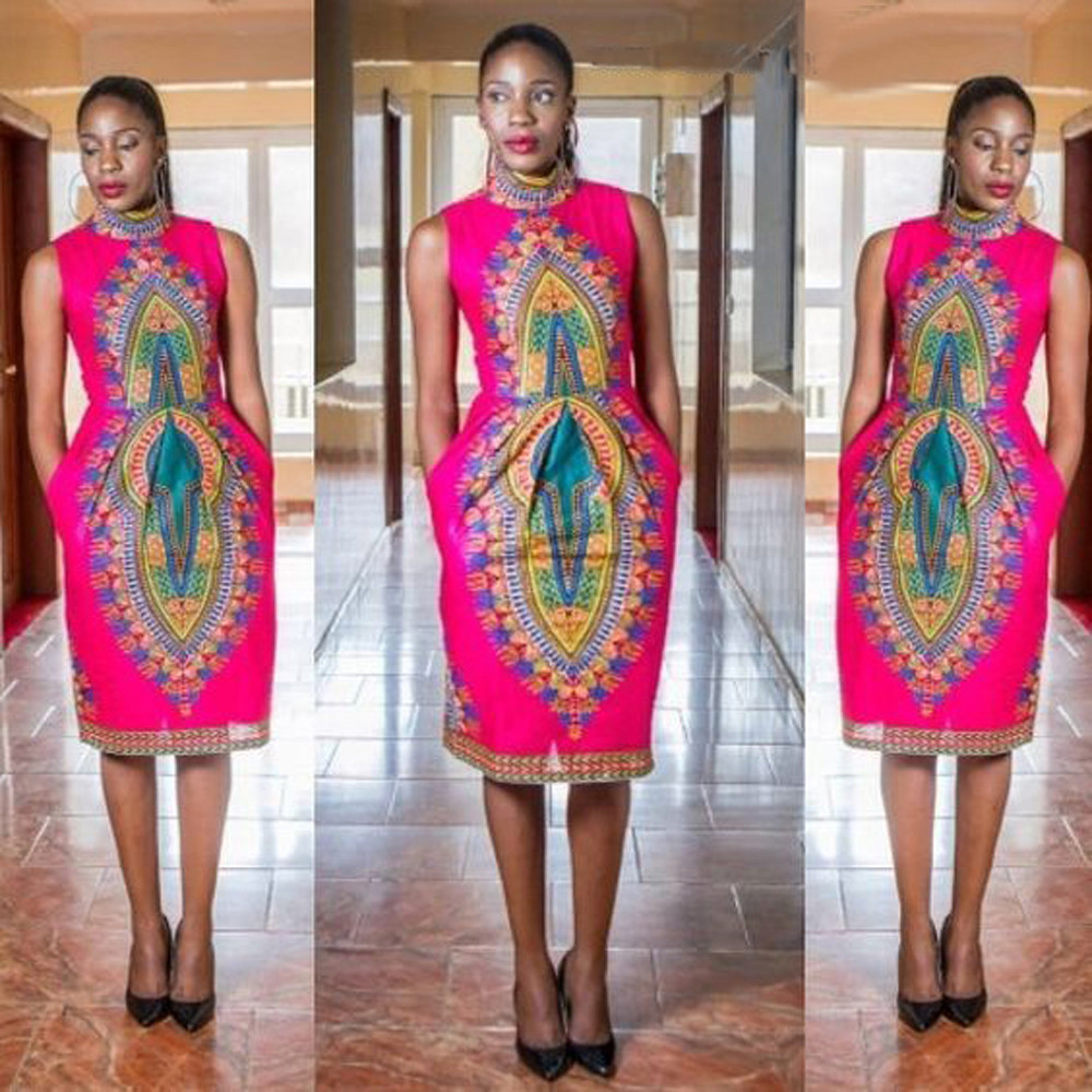 Feitong summer women african print dress 2017 fashion elegant casual straight print kaftan - Dressing modellen ...