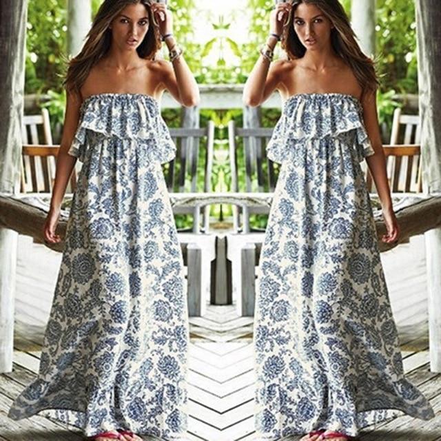 26447103a GRTXIN New 2018 Sexy Off Shoulder Long Maxi XL Dress Women BOHO Evening  Beach Sundress vestidos Shipping From USA