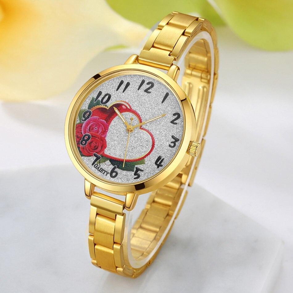 Женщины Золотые Часы Мода Сердце Цветочным Узором Цепи Аналогового Кварцевые Наручные Женские Часы Часы Топ известный Бренд Класса Люкс