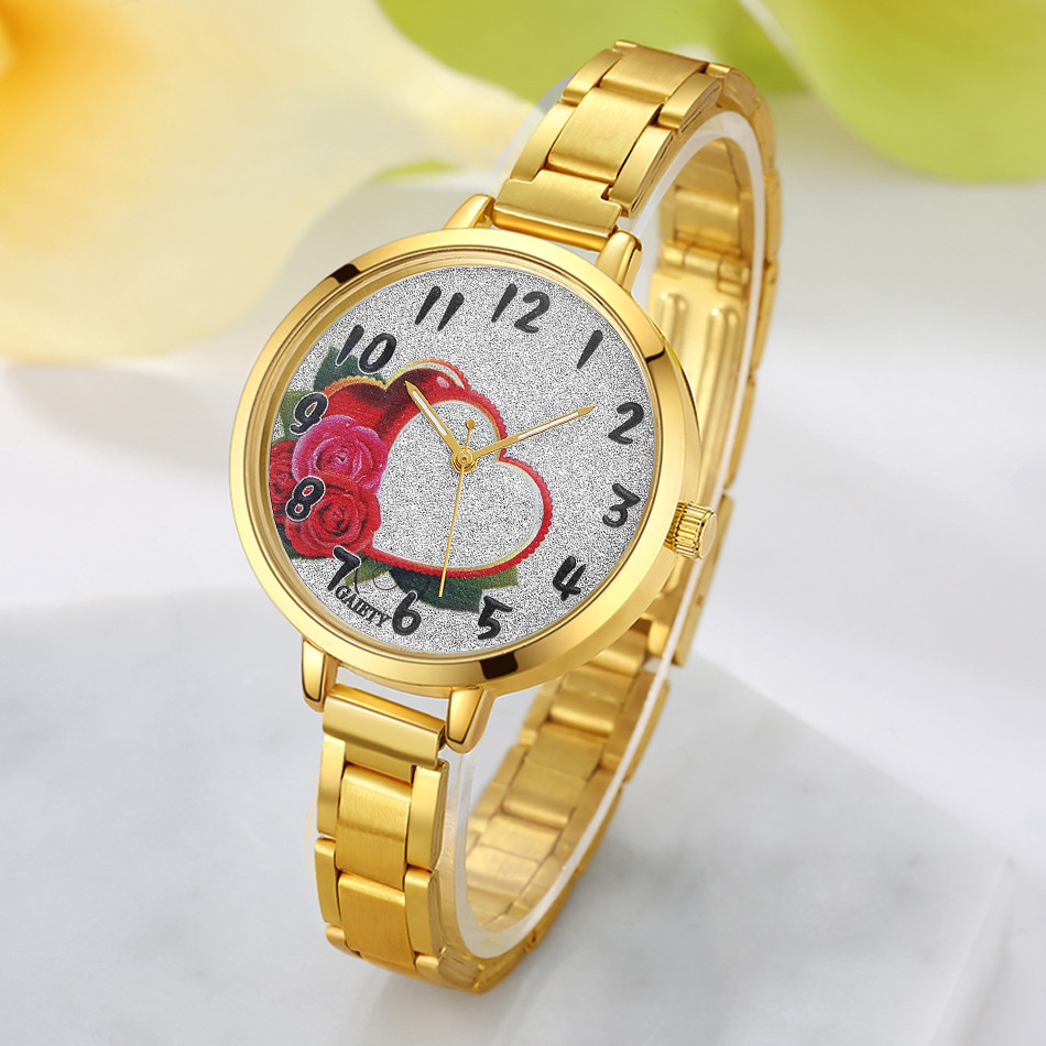 Women Golden Watch Fashion Heart Floral Pattern Chain Analog Quartz Round Wrist Ladies Watches Clock Top famous Brand Luxury analog watch