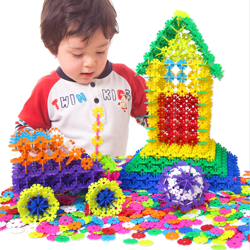 400pcs/lot 3D Blocks Jigsaw Plastic Snowflake Building Blocks Educational DIY Bricks Early Learning Toys For Kids Children Gift