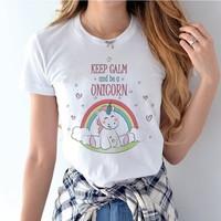 Unicorn T-shirt For Women Kawaii New girl T shirt Cotton unicornio Clothing Funny TShirt Female   Top     Tee   tumblr clothes