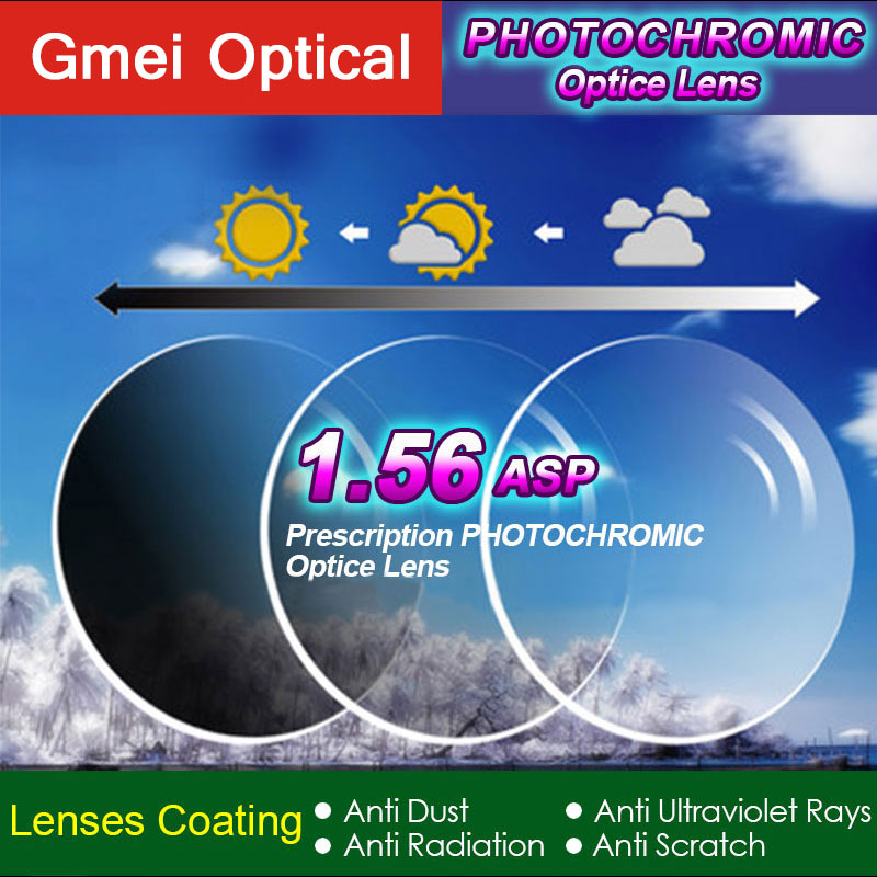 Gmei Optical 1.56 Index Photochromic Lenses Single Vision Prescription Optical Spectacles Lenses Fast Color Change Performance