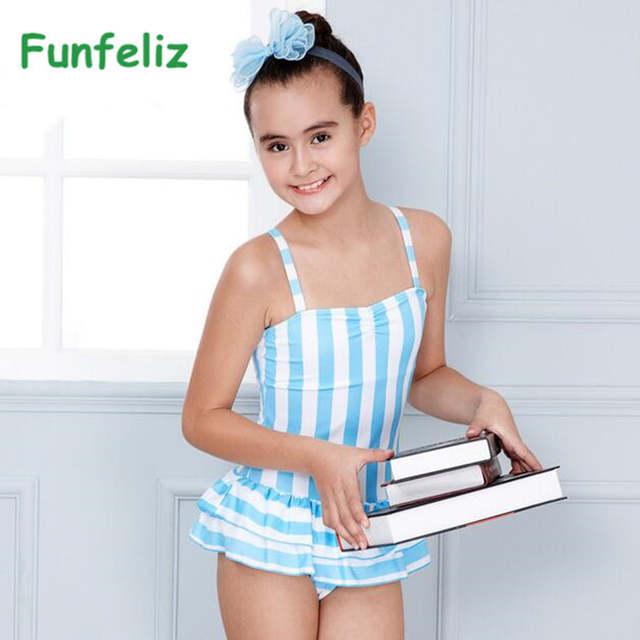 da60188b09f7d Online Shop Funfeliz Girls Swimsuit one-piece swimwear Striped Swimming Suit  with Skirt Teenage Girls Swimwear Kids Bathing Suit 7T-15T