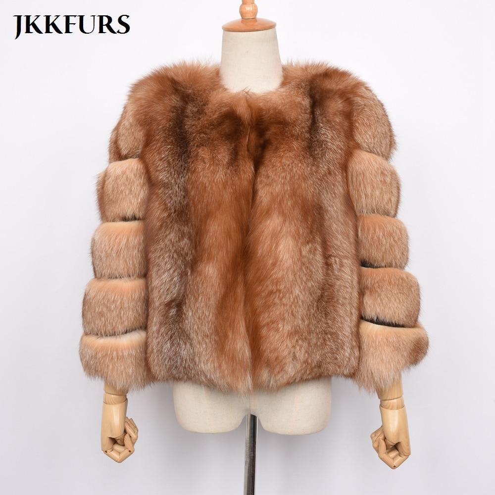 4db1dee7c48 2019 Women Real Fox Fur Coat Winter Natural Red Fox Fur Full Pelt Thick  Warm Jacket