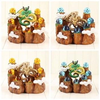 Anime Dragon Ball Z Green Golden Shenron Super Shenlong and Dragonballs With Shelf Figure Set for Collection