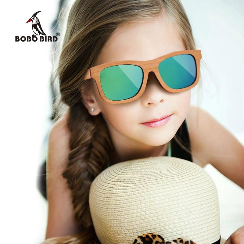 BOBO BIRD Fashionable Children Sunglasses kid Women Men Wooden Sun Glasses Bamboo Arms Eyewear Summer Wood box